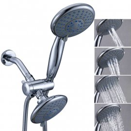 Super Quality Wall Mount Chrome Finish Luxury 4 Function Dual Shower Head