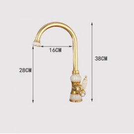 Tall Gold Single Handle Brass Marble Designer Kitchen Faucet 3