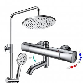 Thermostatic Chrome Wall Mounted Bathroom Shower-Head