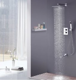 "Thermostatic Wall Mount 10"" Shower Head with Faucet & Hand-Held Shower"