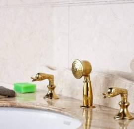 Trento Swan Dual Handle Gold Bathroom Sink Pull Out Shower Faucet