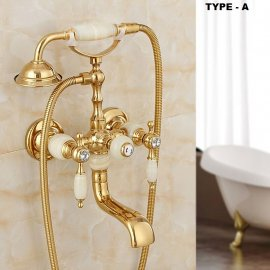 Gold Finish White Handle Clawfoot Bathtub Faucet with Hand Shower