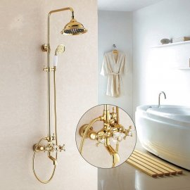Wall Mount Dual Handle Gold Bathroom Shower with Hand-Held Shower