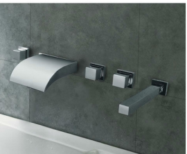 wall mount led waterfall bathtub faucet with hand-held shower head