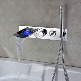 Modern Wall Mount with Pull-out Hand Shower Bathtub LED Waterfall Faucet