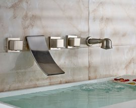 Wall Mounted Brushed Nickel Bathtub Shower Faucet Mixer Tap With Hand Held Shower