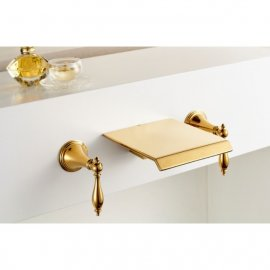 Florence Gold Finish Wall Mount Waterfall Bathroom Sink Faucets