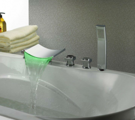 Bathtub faucets - Waterfall LED Bathtub Sink Faucet