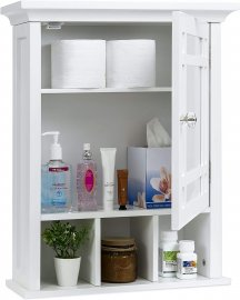 White Color Mirrored Wall Mount Bathroom Storage Cabinet