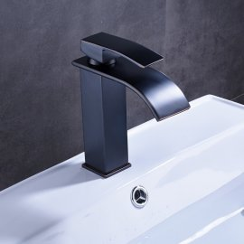 Widespread Black Bronze Single Handle Contemporary Deck Mounted Bathroom Sink Faucet