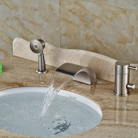 Widespread Brushed Nickel Deck Mount LED Light Bathtub Faucet with Hand Shower