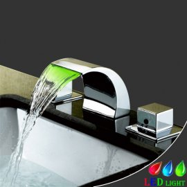 Widespread Chrome Finish Color Changing LED Bathtub faucet