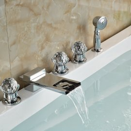 Widespread Deck Mount Chrome Bathtub Faucet with Hand Shower