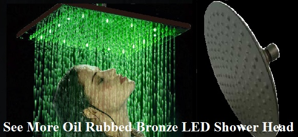 "10"" Oil Rubbed Bronze Round Color Changing LED Rain Shower Head"