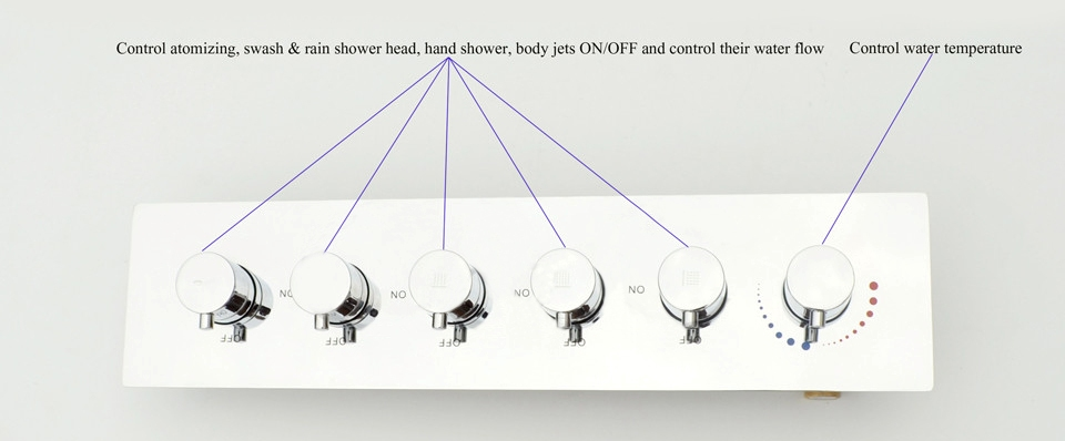 """32"""" by 16"""" Amore Atomizing Swash And Rainfall Temperature Controlled LED Shower Head Shower System"""