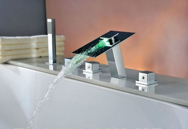 Perfect The Latest Design LED Waterfall Bathroom Faucet For Bath Tubs With Hand  Sprayer
