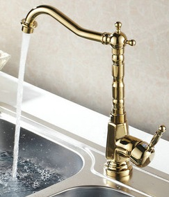 Gold kitchen sink faucets