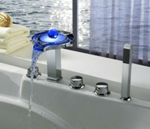 bathroom bathtub waterfall faucet handheld shower